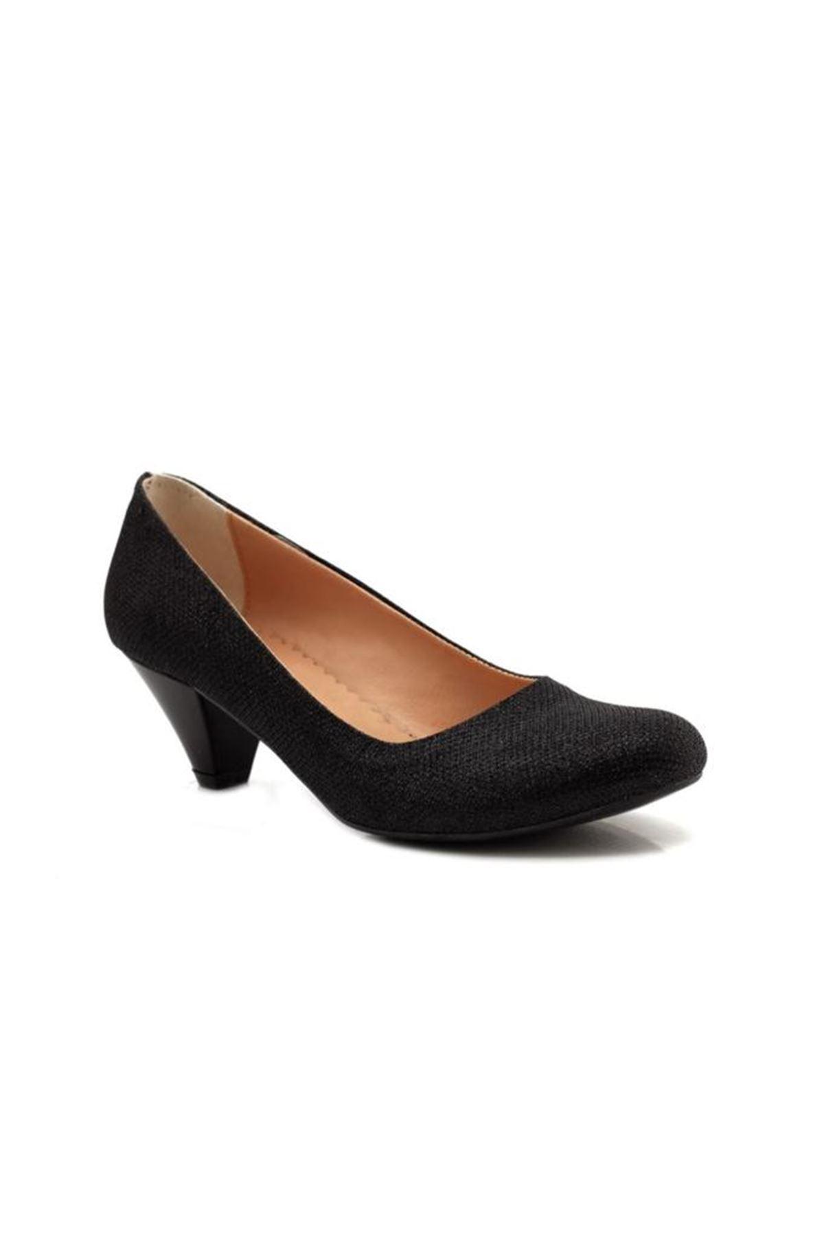 Carino Siyah Alçak Topuk Bayan Ayakkabı