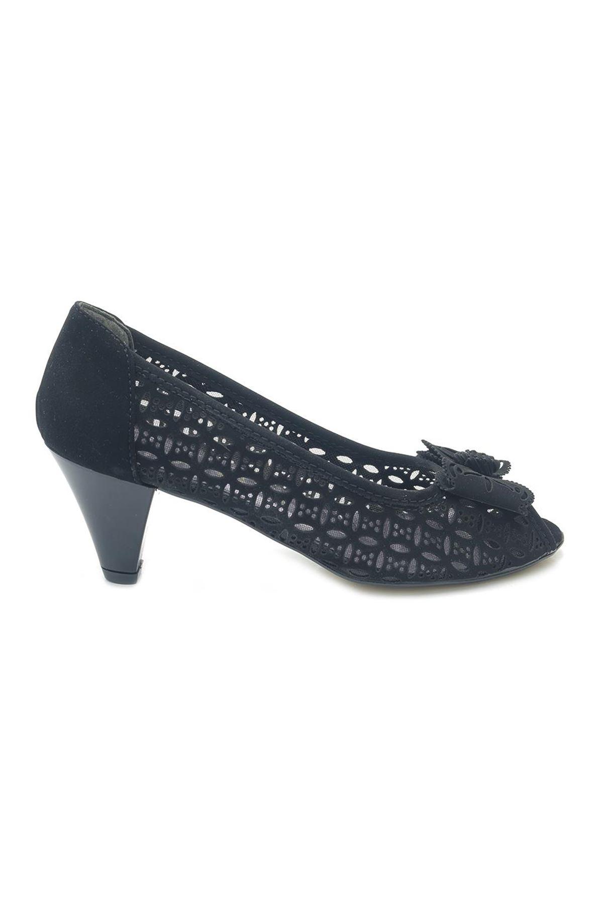 Fantasy Alçak Topuk Burnu Açık Fileli Kadın Ayakkabı