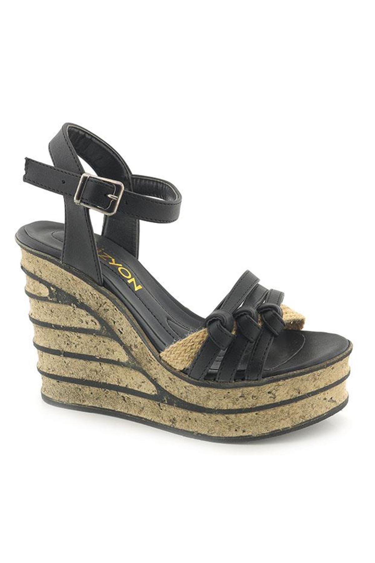 Wizyon Yüksek Dolgu Topuk Kadın Sandalet