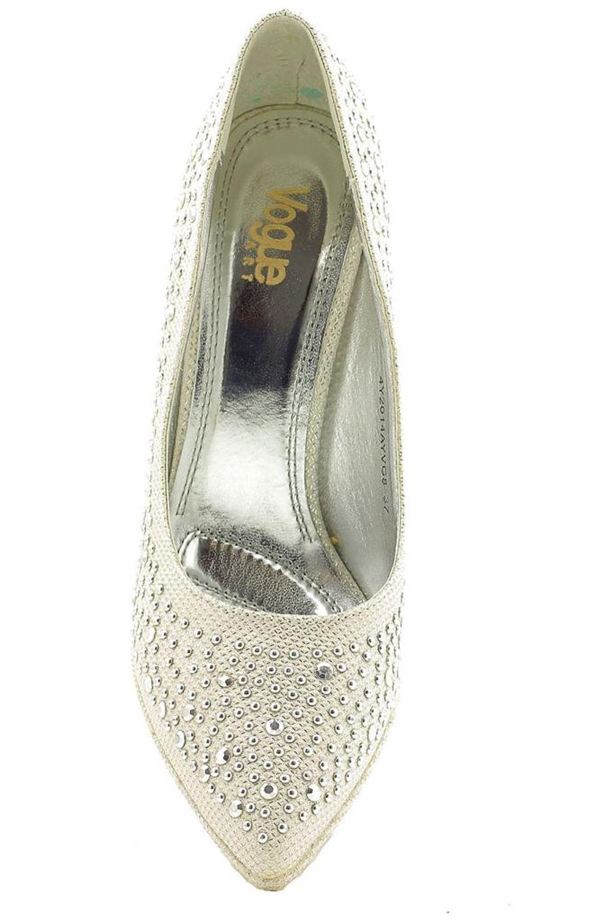 Vogue Lame Gümüş Topuklu Taşlı Bayan Ayakkabı