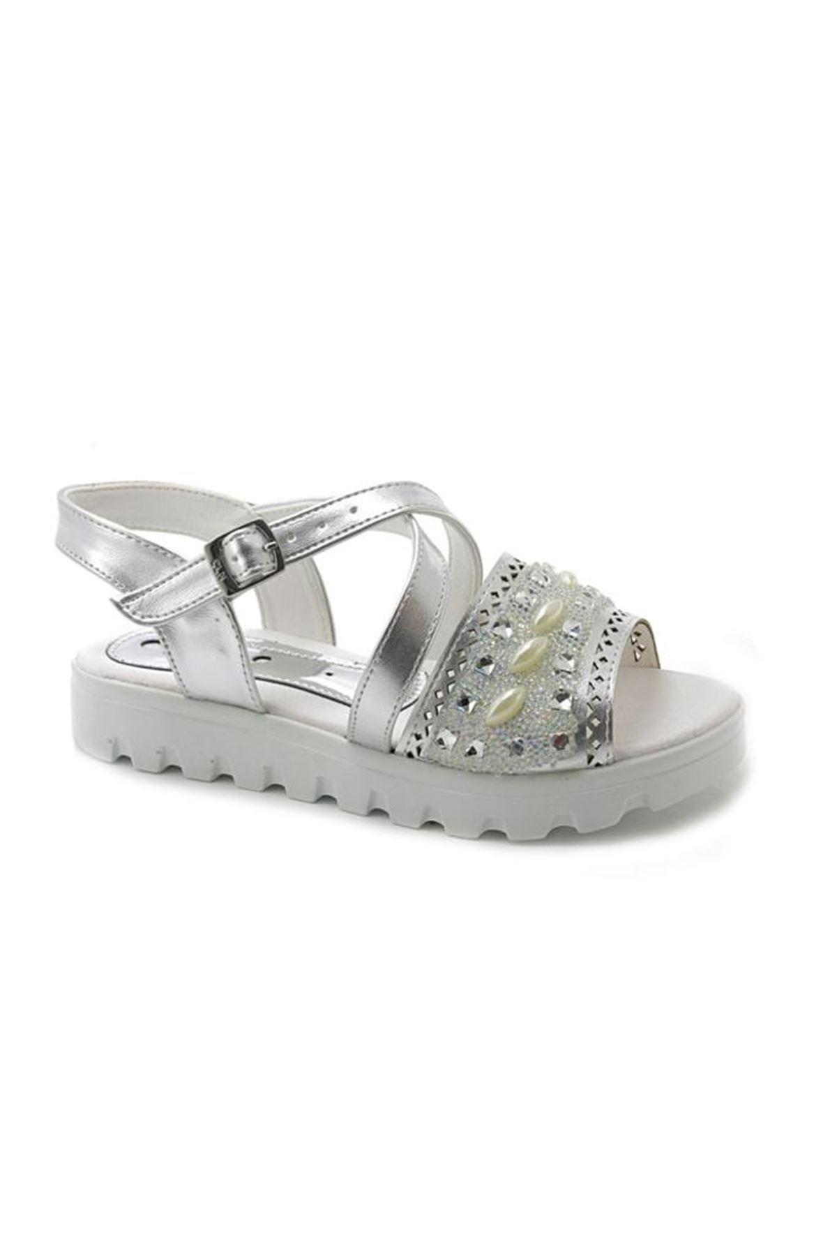 Lady Gümüş Taşlı Simli Kız Çocuk Sandalet