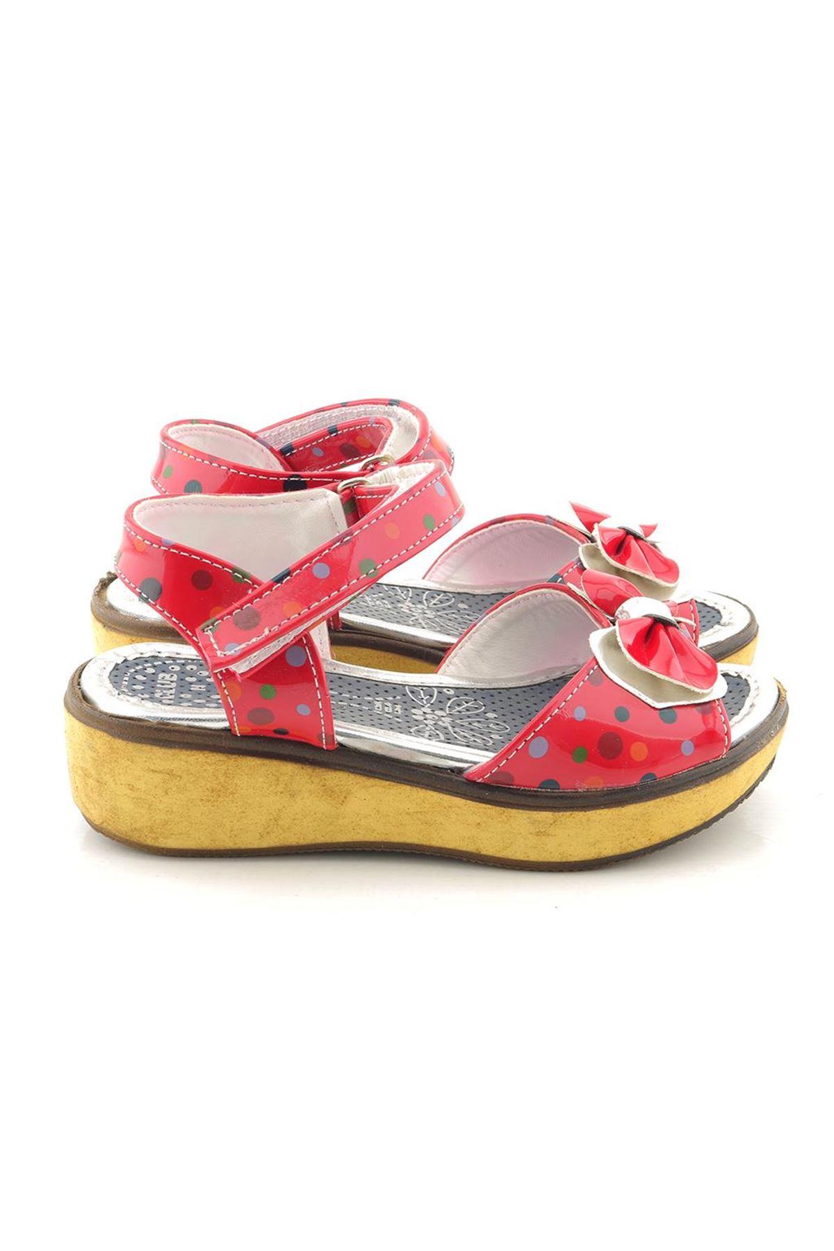 Kids World Kırmızı Puantiyeli Kız Çocuk Sandalet
