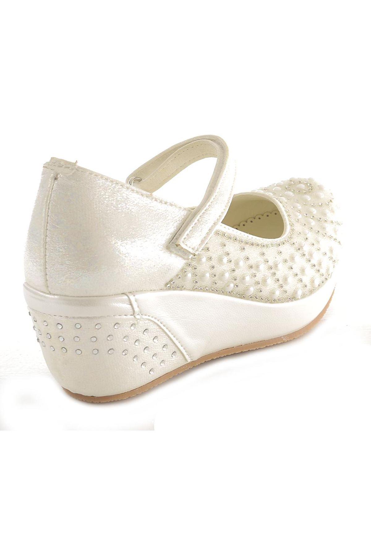 Mini Kids 30258 Taşlı Dolgu Topuk Abiye Çocuk Ayakkabı