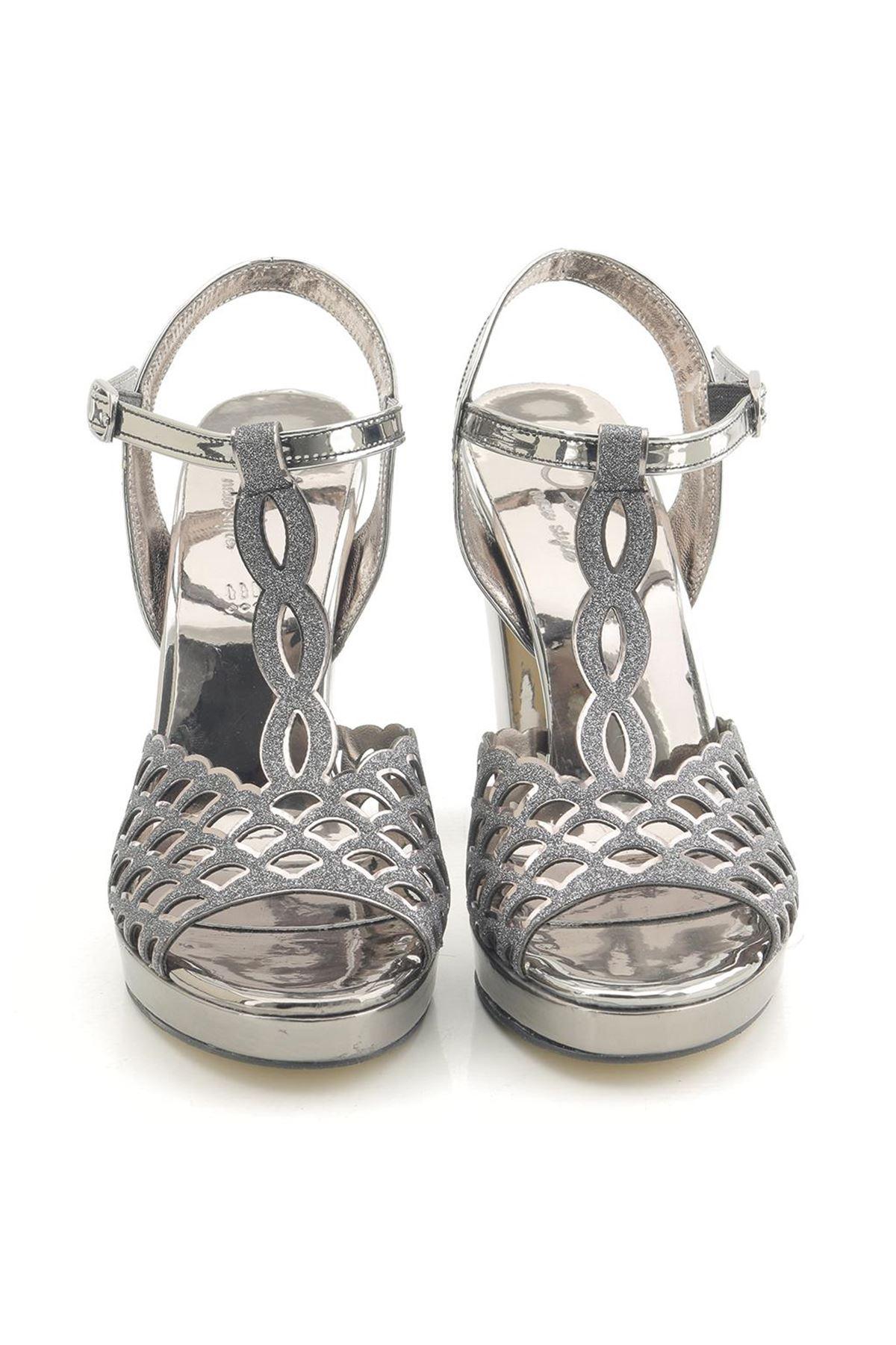 Lady Yüksek Topuk Platform Platin Parlak Topuklu Ayakkabı