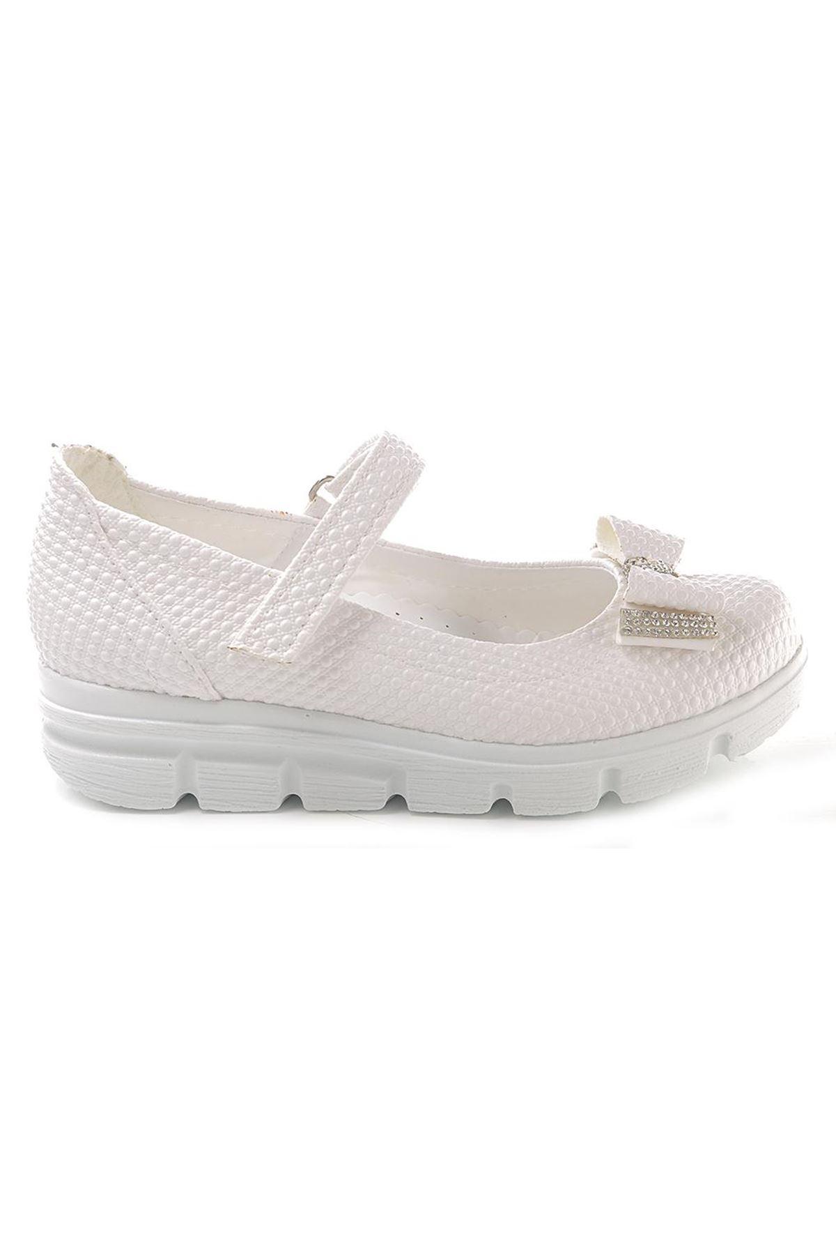 Kids World Beyaz Kalın Taban Çocuk Ayakkabı