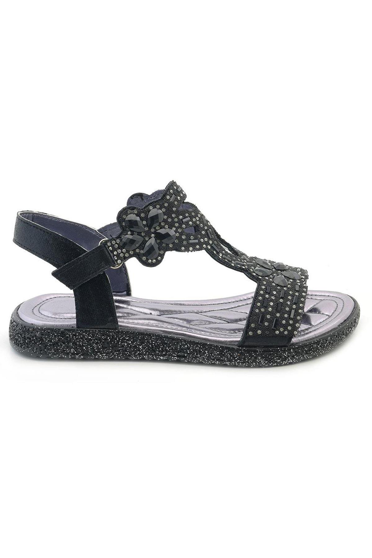 Kids World Düz Taşlı Kız Çocuk Sandalet