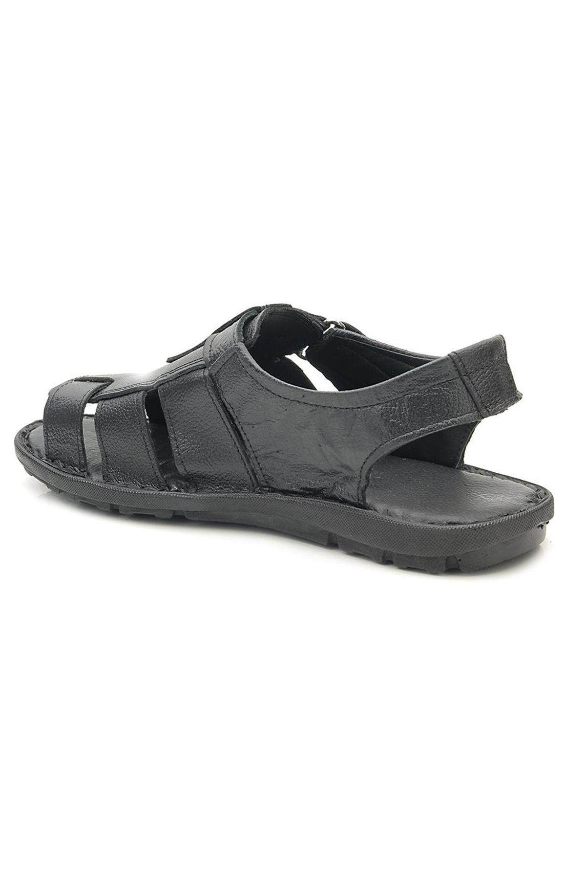 Many S0011 Hakiki Deri Burnu Açık Ortopedik Sandalet