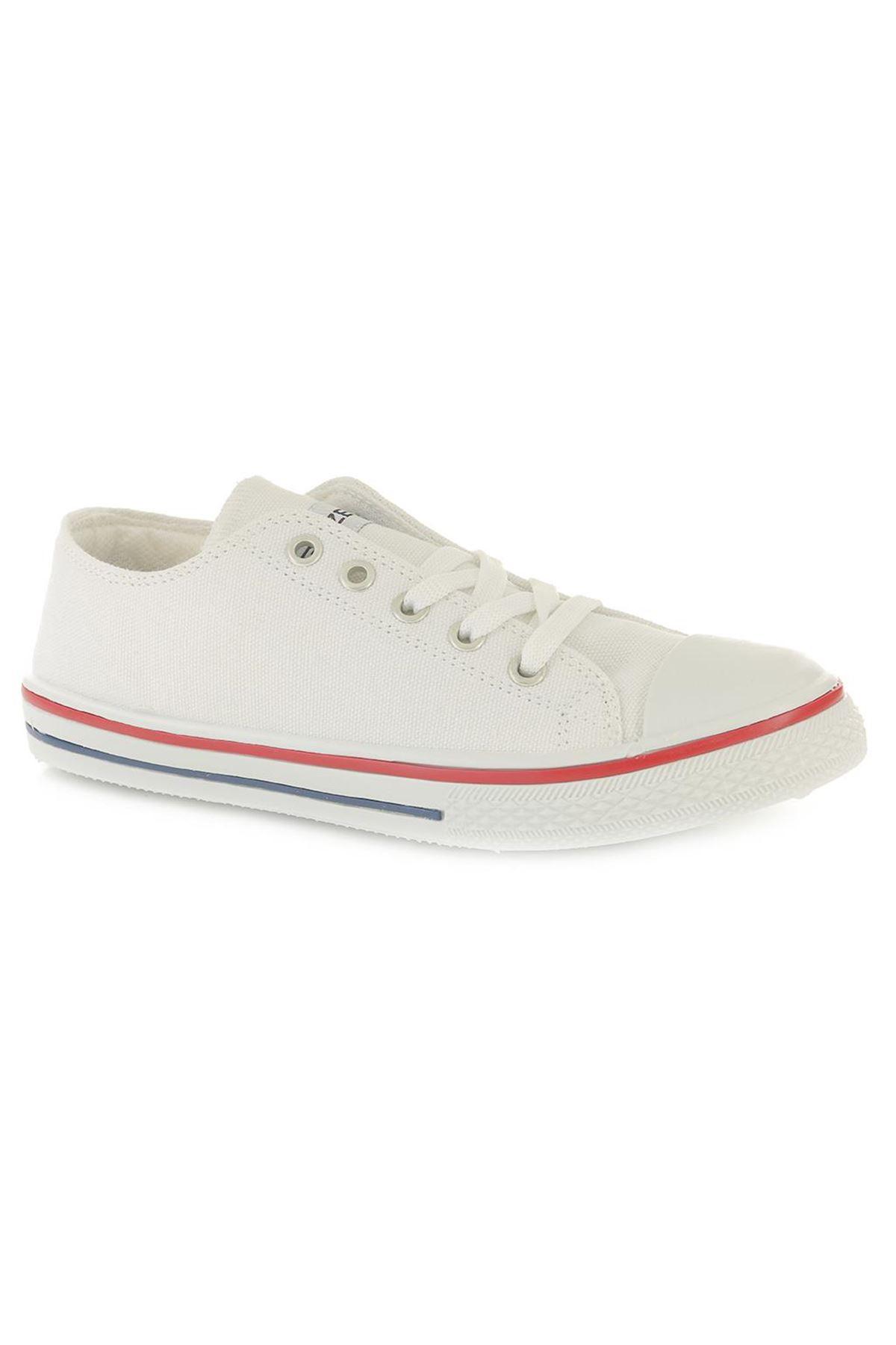 Gezer Kanvas Bez Beyaz Spor Ayakkabı, 23 Nisan Ayakkabısı