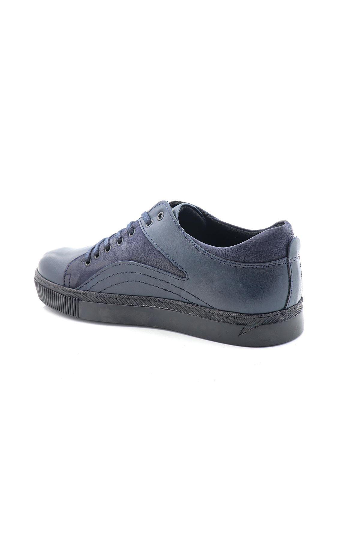 Man W441-12 Lacivert Hakiki Deri Erkek Casual Ayakkabı
